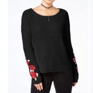 Almost Famous Juniors' Rose Embroidered Sweater